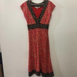 Diane Von Furstenberg Red Silk ENOLA Midi Dress